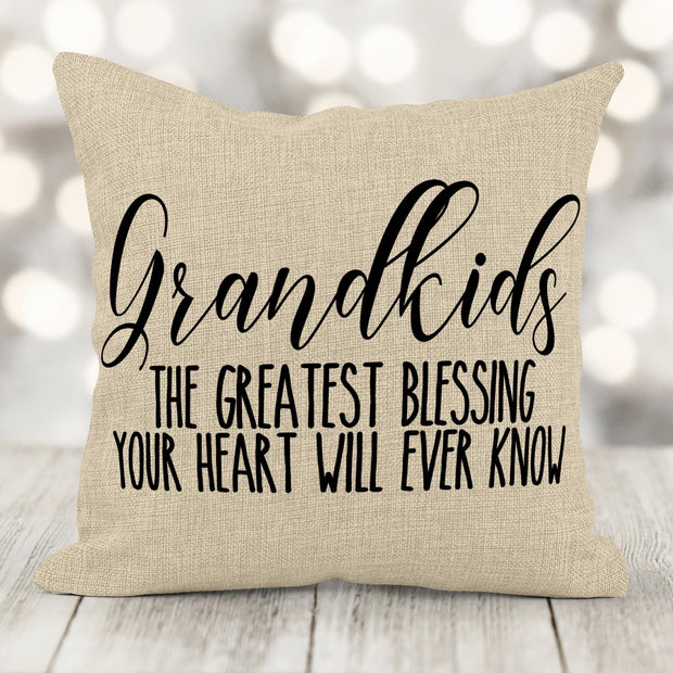 Father's Day Gift Grand Kids Are A Gift Burlap Pillow 16x16