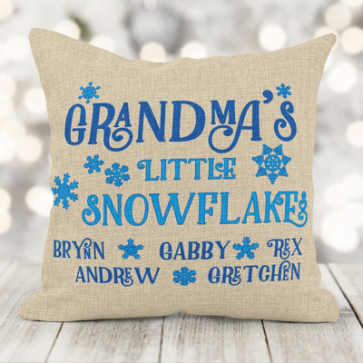 Personalized Parent/Grandparent Snowflake Faux Burlap Pillow 16x16 with insert
