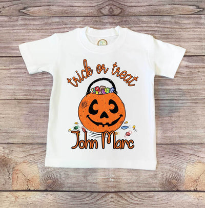 Trick or Treat Personalized  Halloween Kid's Shirt | Halloween Apparel, Halloween Clothing, Comfy Tee
