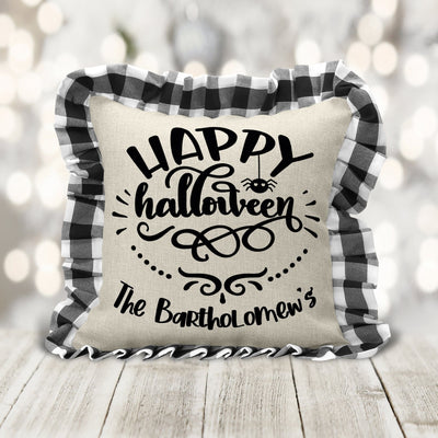 Happy Halloween Black and White Buffalo Plaid Personalized Accent Pillow | Halloween Decor, Home Decor, Halloween Home Decor