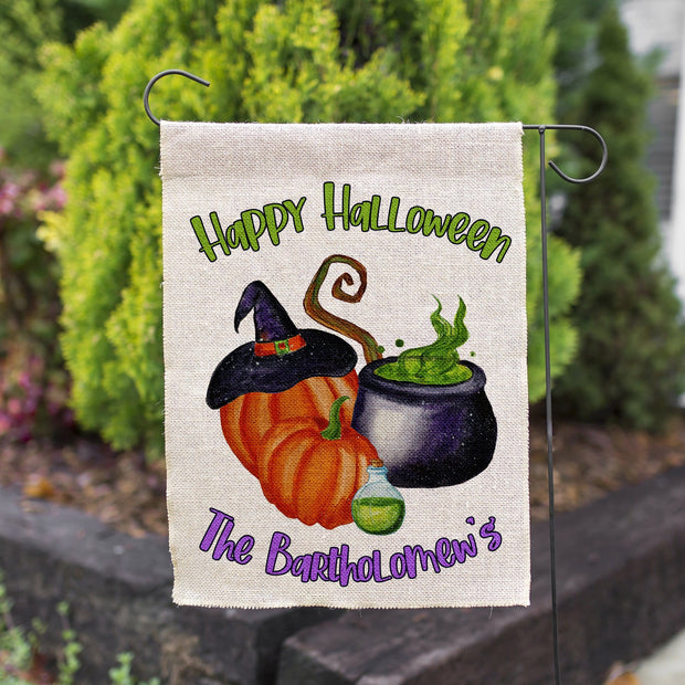 Happy Halloween Witch's Cauldron and Pumpkin's Personalized Faux Burlap Garden Flag