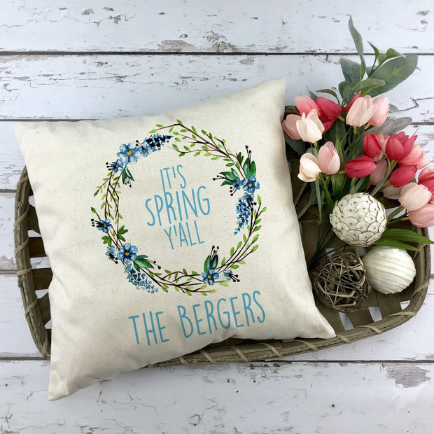 Personalized Its Spring Y'all Linen Pillow