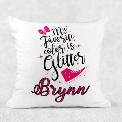 Personalized My Favorite Color is Glitter Sleepover Pillow