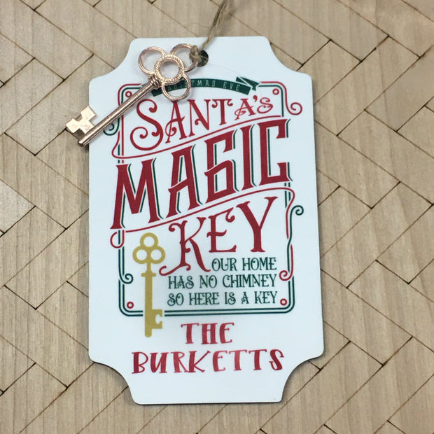 Santa's Magic Key Ornament Personalized With Decorative Key