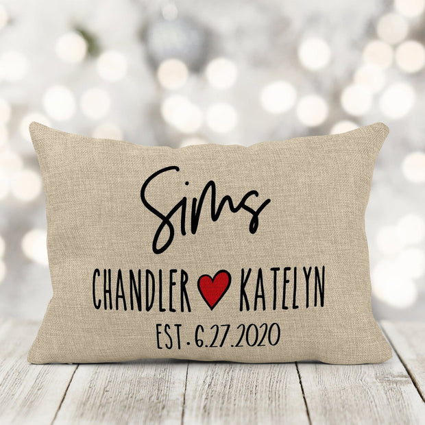 Last Name & Est. Date Personalized Burlap Pillow 12in x 18in