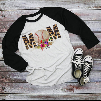 Leopard Baseball MOM Black Sleeved Raglan Shirt