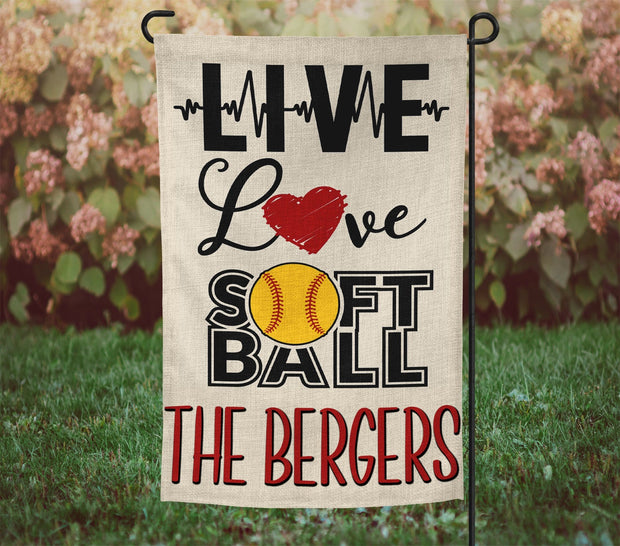 "Personalized Live Love Softball 12""x18"" Burlap Garden Flag"
