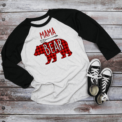 Holiday Unisex Next Level Raglan Mama/Papa Bear Red Buffalo plaid Shirt