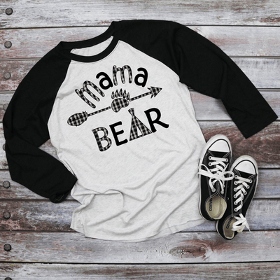 Holiday Unisex Next Level Raglan Mama/Papa Bear Black and White Buffalo plaid Shirt