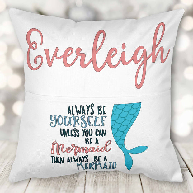 Mermaid Theme Book Pocket Pillow