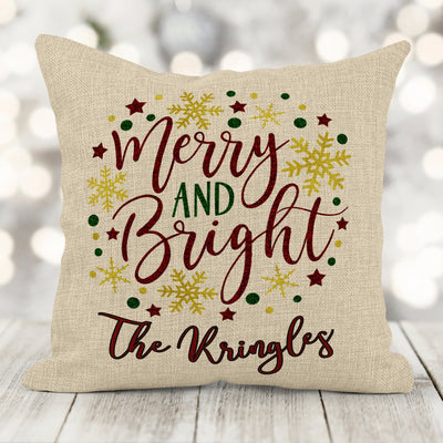 Personalized Family Name Merry & Bright Faux Burlap Pillow 16x16 with insert