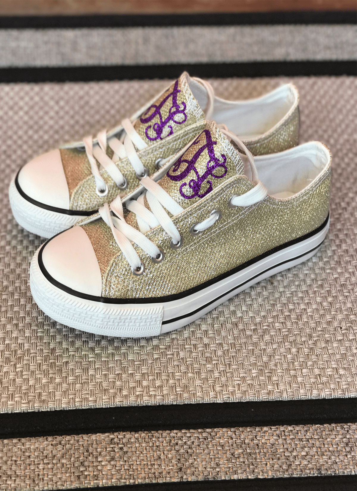 341e0afe79d3 Purple and Gold Glitter Monogram Tennis Shoes - GLAM - Girls Love A ...