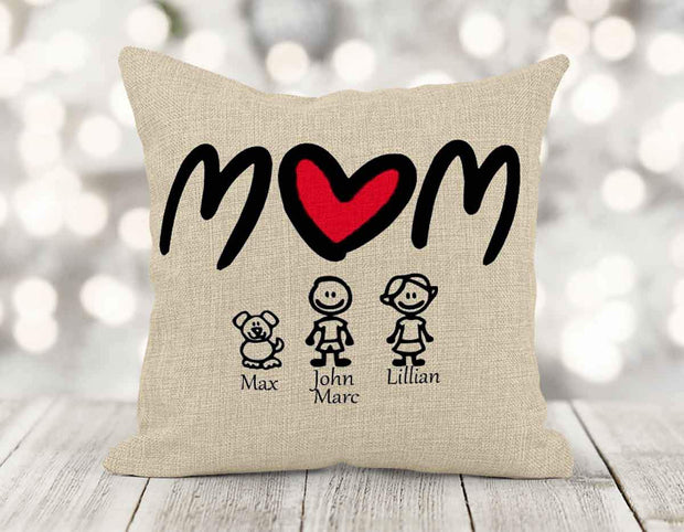 Personalized Mom Burlap Pillow with Kids/Pets