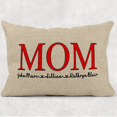 Personalized Mother's Day Burlap 12x18 Pillow