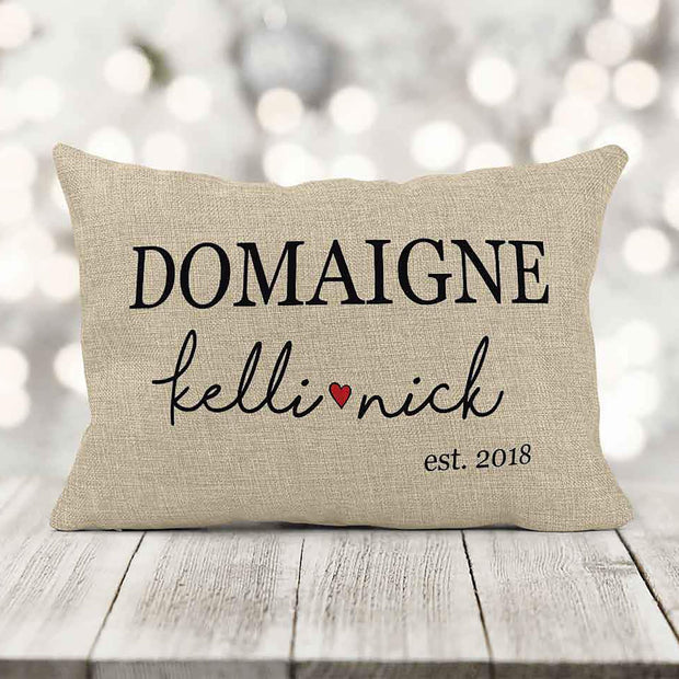 Personalized Est Date Wedding Pillow 12x18 Oblong Pillow Sham With Insert