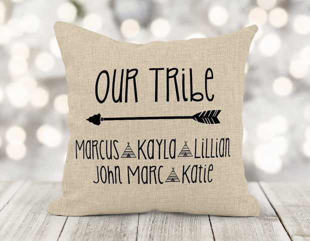 Personalized Our Tribe Burlap Pillow