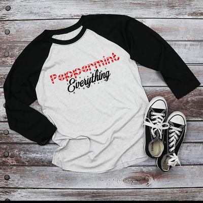 Holiday Unisex Next Level Raglan Peppermint Everything Shirt