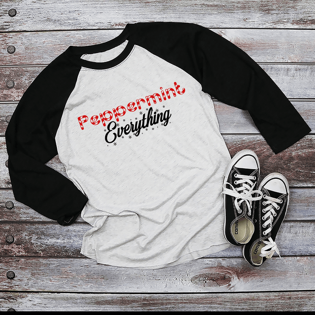 Holiday Unisex Next Level Raglans Peppermint EVERYTHING