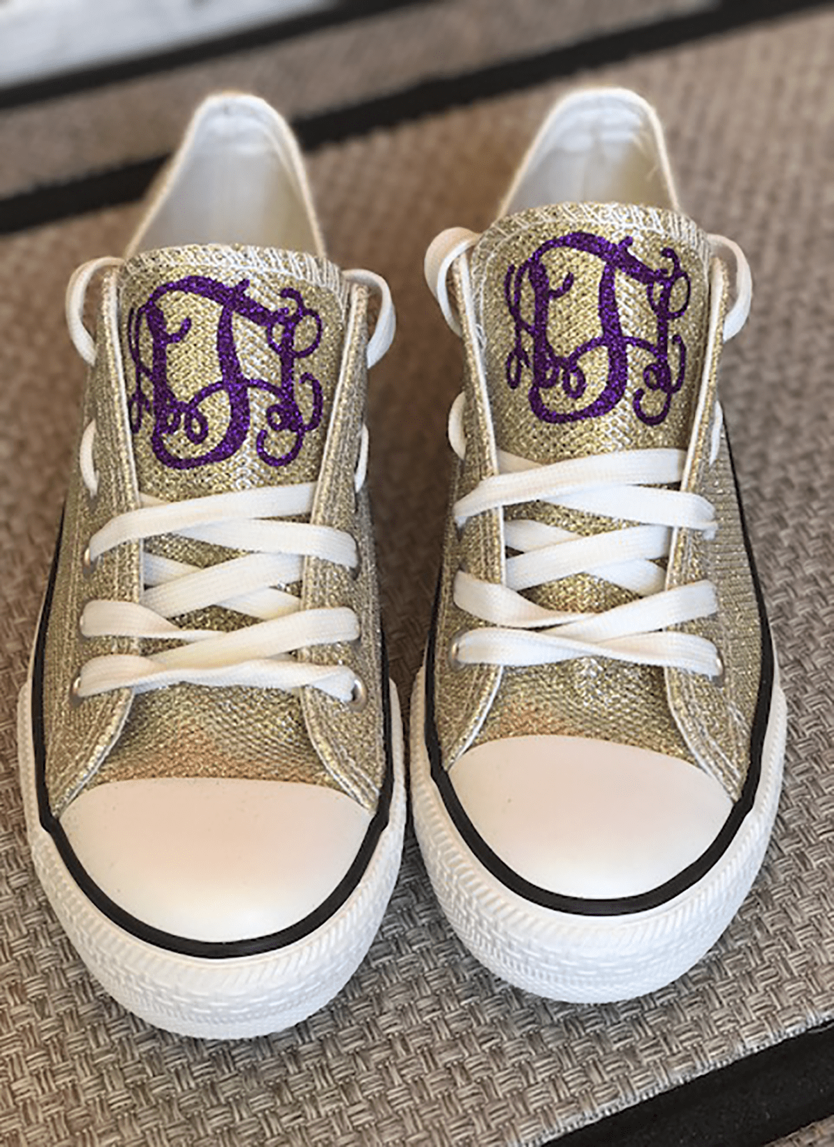 Purple And Gold Glitter Shoes