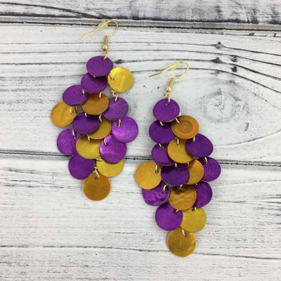 Purple and Gold Chandelier Earrings