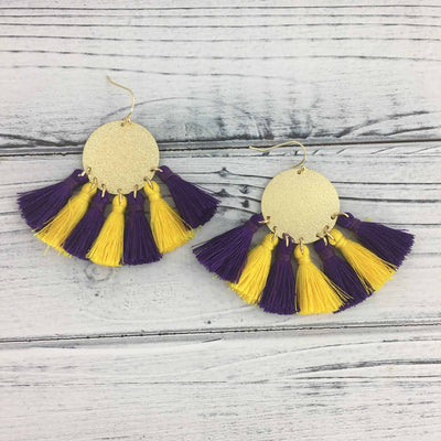 Purple and Gold Disk Earrings