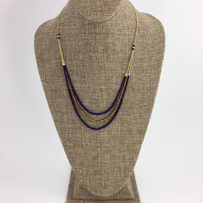 Purple And Gold Three Strand Beaded Necklace