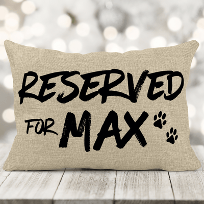Personalized Pet (RESERVED) Faux-Burlap 12x18 Pillow with insert