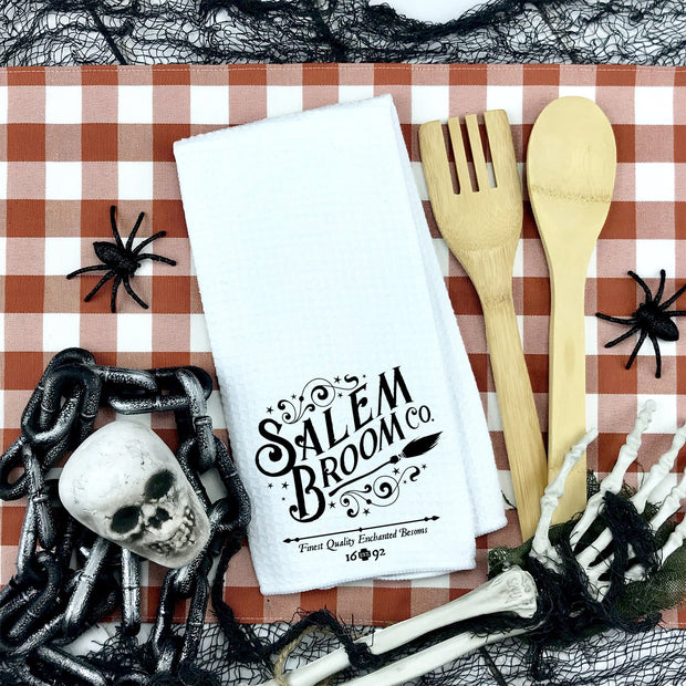 Salem Broom Co. Waffle Weave Kitchen Towel | Halloween Decor, Halloween Home Accents