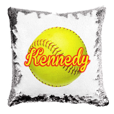 Personalized Reversible Sequin Softball Design 16x16 Sham With Insert