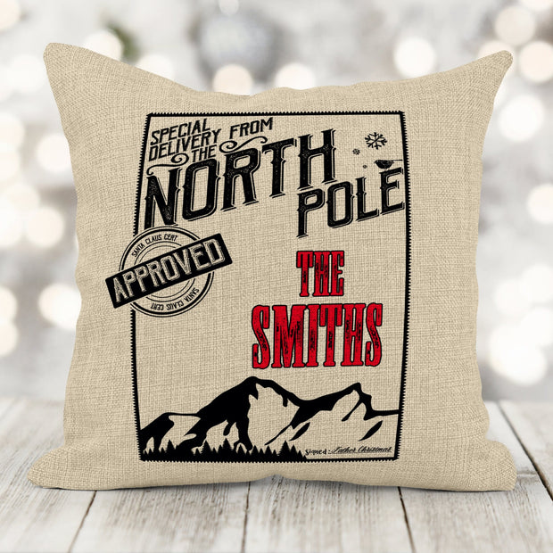 Personalized Family Name North Pole Faux-Burlap Pillow 16x16 pillow sham with insert