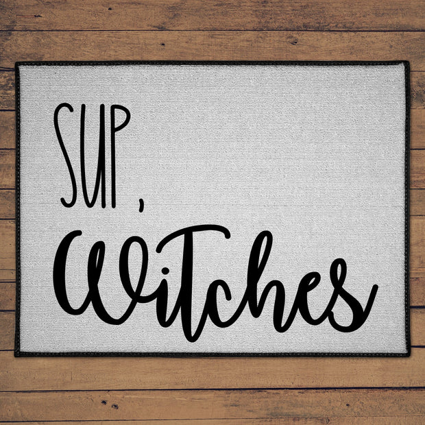 Sup, Witches Floor Mat |  18in x 24in, Indoor or Outdoor, Halloween decor, Halloween Home Accents