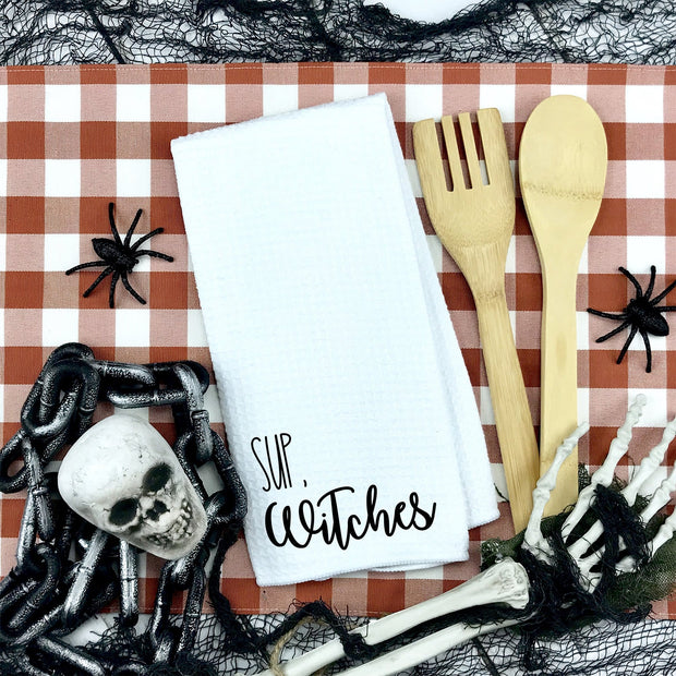 Sup, Witches Waffle Weave Kitchen Towel | Halloween Decor, Halloween Home Accents