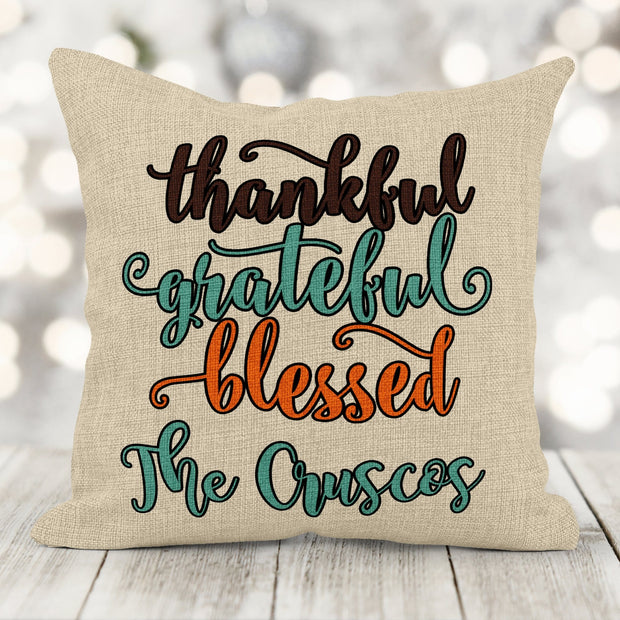 Personalized Thankful Grateful Blessed Faux Burlap Pillow