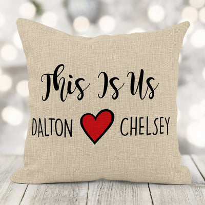 This Is Us Personalized Burlap Pillow 16in x 16in