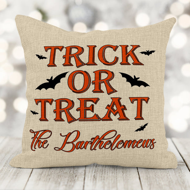 Trick or Treat Personalized Faux-Burlap Pillow | 16in x 16in