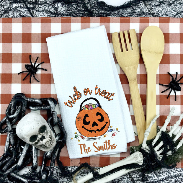 Trick or Treat Personalized Waffle Weave Kitchen Towel | Halloween Decor, Halloween Home Accents