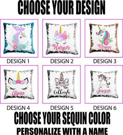 Personalized Unicorn Reversible Sequin Flip Pillow | 6 Designs and Colors to Choose from