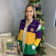 Color Block Stripe Mardi Gras Vest