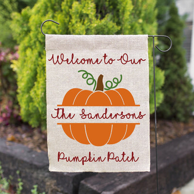 PERSONALIZED FALL PUMPKIN FAUX BURLAP GARDEN FLAG 12X18 | WELCOME PUMPKIN FARMHOUSE DECOR-YARD OUTDOOR DECOR