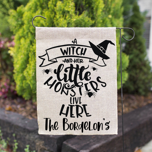 A Witch And Her Little Monsters Live Here Personlaized Halloween Faux Burlap Garden Flag | 12in x 18in, Yard Decor, Outdoor Decor, Halloween Decor