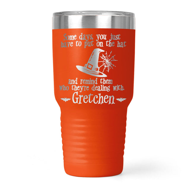 Put The Hat On Halloween Personalized Laser Etched Tumbler | 20oz or 30oz