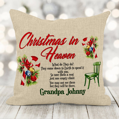 Personalized Christmas In Heaven 16x16 Canvas Pillow with insert