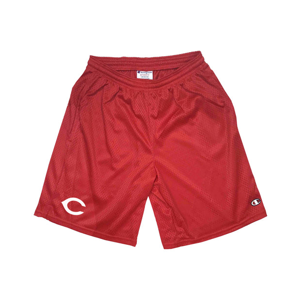 "REDS Champion - 9"" Pocketed Mesh Shorts - Red"