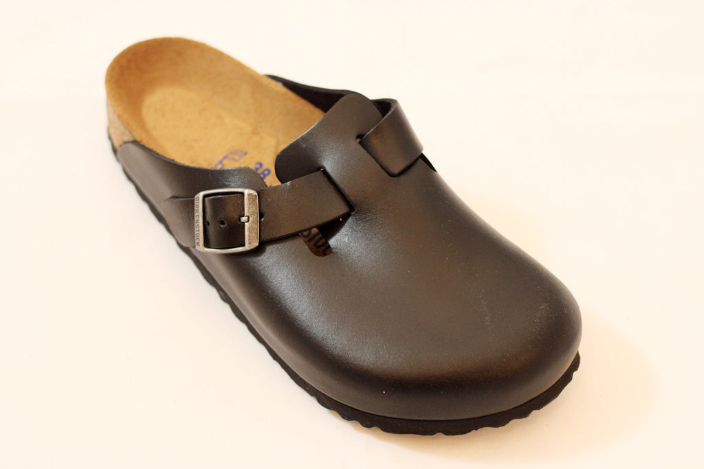 Birkenstock Womens Boston Clog - Black Leather Front Angle View