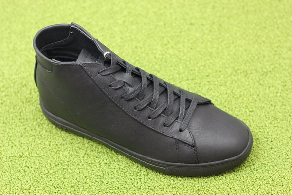 Clae Unisex Bradley Mid Sneaker -  Triple Black Leather Side Angle View
