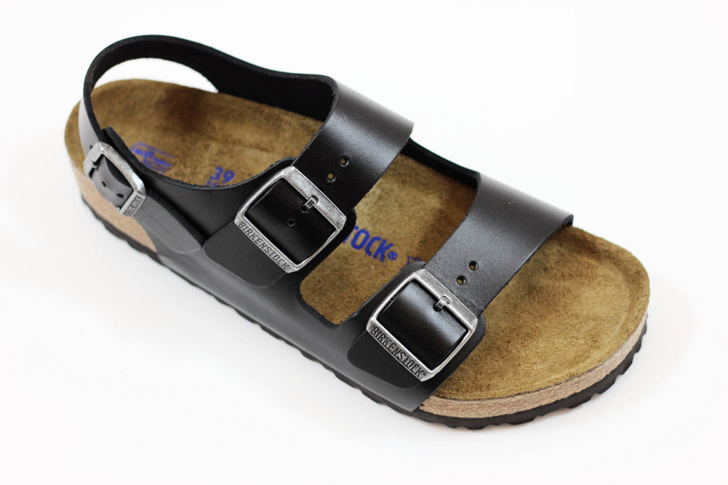 Birkenstock Men's Milano Sandal - Black Amalfi Leather Side Angle View