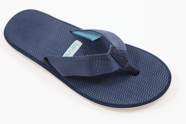 Hari Mari Men's Dunes Sandal - Navy/Lt Blue Nylon Side Angle View