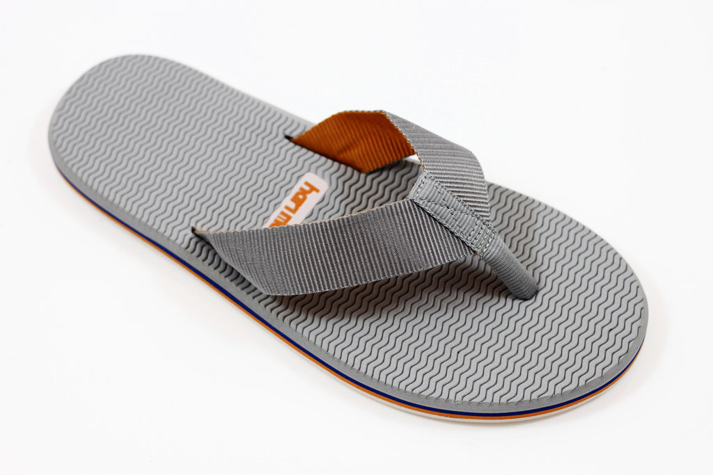 Hari Mari Men's Dunes Sandal - Grey/Orange Blue Nylon Side Angle View