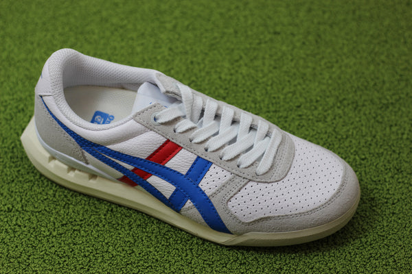 Onitsuka Tiger Unisex Ultimate81 Ex Sneaker - White/Director Blue Leather/Suede Side Angle View