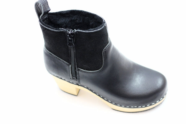 Swedish Hasbeens Women's Zip It Shearling Boot - Black Leather/Shearling
